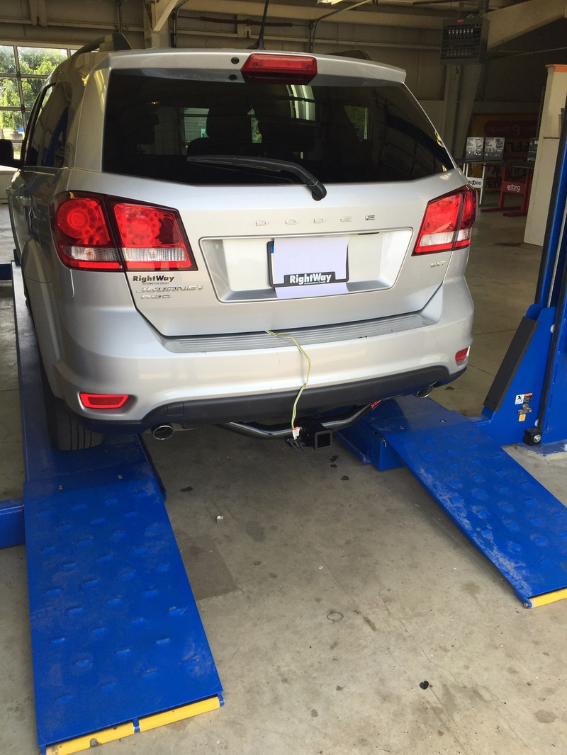 We have a Dodge Journey here with a Class 3 Curt trailer hitch complete  with flat four trailer wiring This couple were getting ready to go hook up  to their ...